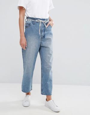 Cheap Monday Укороченные джинсы с завышенной талией, широкими штанинами и завязкой. Цвет: синий