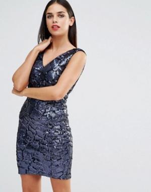 Forever Unique Платье мини с отделкой пайетками Indiana. Цвет: темно-синий