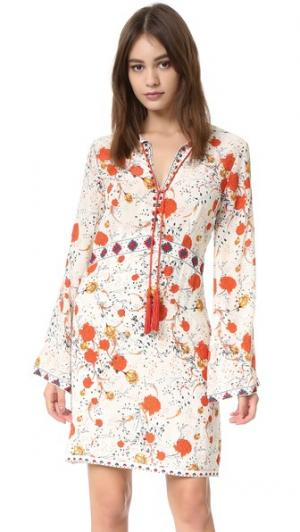 Шелковое мини-платье с цветочным принтом в стиле хиппи The Kooples. Цвет: белый