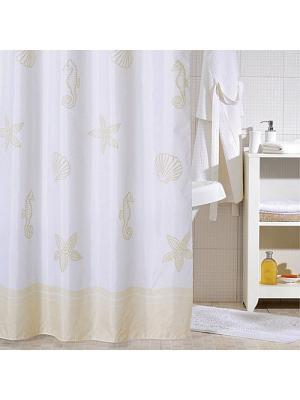 Штора для ванной Milardo. Цвет: белый, бежевый