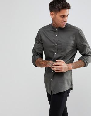 ASOS Приталенная эластичная джинсовая рубашка с воротником на пуговице. Цвет: зеленый