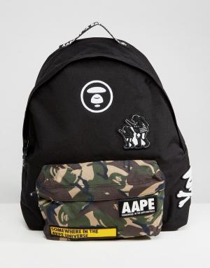 AAPE BY A BATHING APE Черный рюкзак с камуфляжным принтом на кармане. Цвет: черный