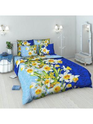 Комплект постельного белья из бязи 1,5 спальный Василиса. Цвет: голубой, желтый, синий