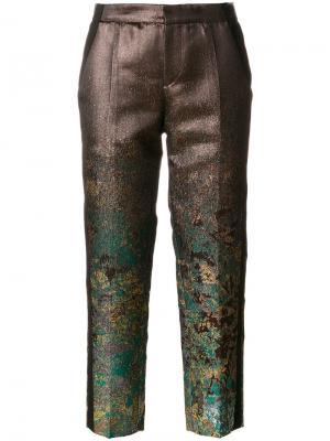 Укороченные брюки с металлическим отблеском A.F.Vandevorst. Цвет: металлический