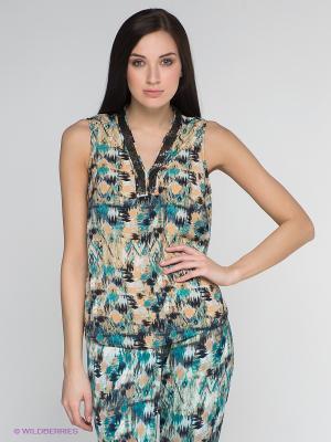 Блузка Vero moda. Цвет: бирюзовый, коричневый, темно-синий