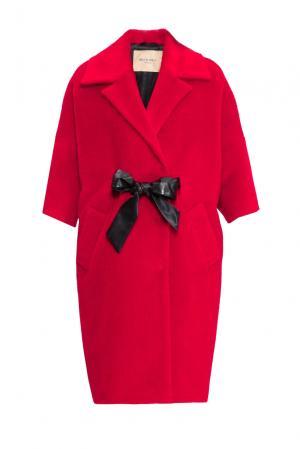 Пальто с поясом 152589 Mia Blanca. Цвет: красный