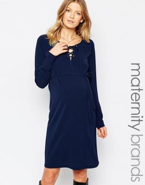 Mama.licious Платье для беременных с шнуровкой спереди Mamalicious. Цвет: темно-синий