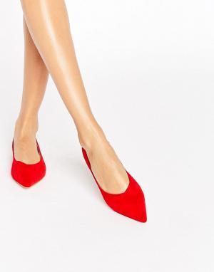 Raid Красные остроносые туфли на плоской подошве Agatha. Цвет: красный
