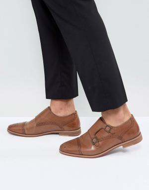 ASOS Светло-коричневые кожаные монки с натуральной подошвой. Цвет: рыжий
