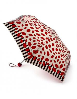 Зонт механический Полоска по краю  by Fulton Lulu Guinness. Цвет: красный