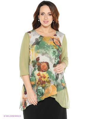 Блузка VENUSITA. Цвет: зеленый