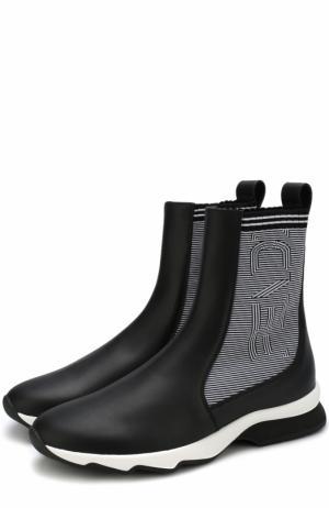 Кожаные кроссовки с текстильной отделкой Fendi. Цвет: черный