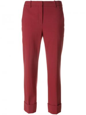Укороченные брюки с высокой талией Theory. Цвет: красный