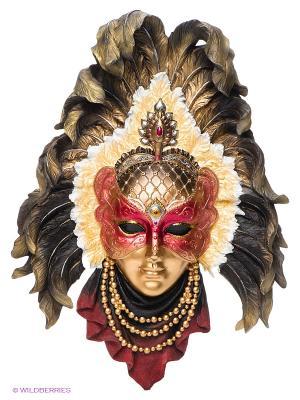 Венецианская маска Перо павлина Veronese. Цвет: золотистый, желтый, бронзовый, красный