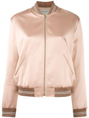 Атласная куртка бомбер Saint Laurent. Цвет: розовый и фиолетовый