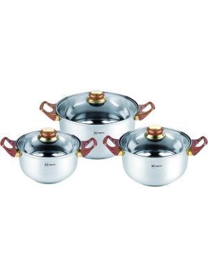 Набор посуды из нержавеющей стали 2,7л/3,6л/6,1л. RAINSTAHL. Цвет: серебристый, коричневый