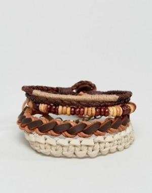 ASOS Набор кожаных браслетов (коричневые, хаки). Цвет: мульти