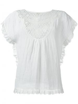Блузка с вышивкой Masscob. Цвет: белый