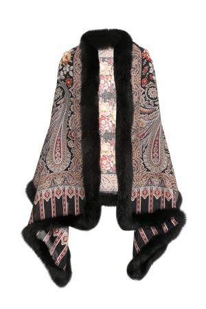 Палантин из шерсти с отделкой меха песца 157276 Kaminsky. Цвет: разноцветный
