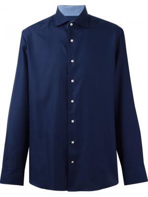 Жаккардовая рубашка на пуговицах Hackett. Цвет: синий