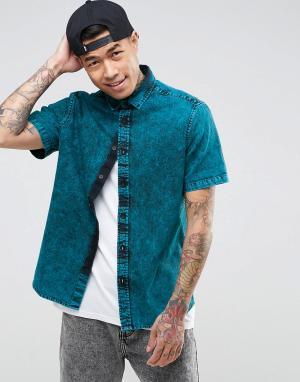 ASOS Джинсовая рубашка классического кроя с эффектом кислотной стирки. Цвет: зеленый