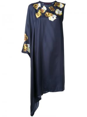 Асимметричное платье с цветочным принтом Martin Grant. Цвет: синий