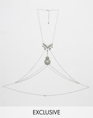 DesignB London Эффектное ожерелье в восточном стиле с камнем. Цвет: серебряный