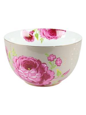 Большая пиала Floral Pip studio. Цвет: бежевый, розовый