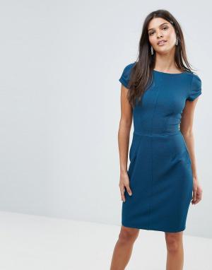 Closet London Фактурное платье-футляр. Цвет: синий