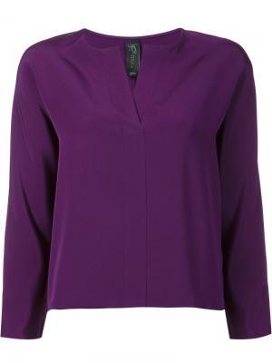 Блузка с разрезом на вырезе Zero + Maria Cornejo. Цвет: розовый и фиолетовый