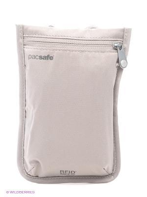Кошелек PacSafe со шнурком. Цвет: кремовый