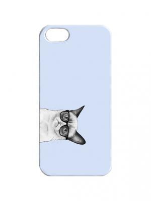 Чехол для iPhone 5/5s Недовольный кот в очках на голубом Арт. IP5-313 Chocopony. Цвет: голубой, серый