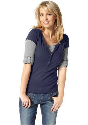 Комплект: футболка + кофточка с длинными рукавами Flashlights. Цвет: синий/серый