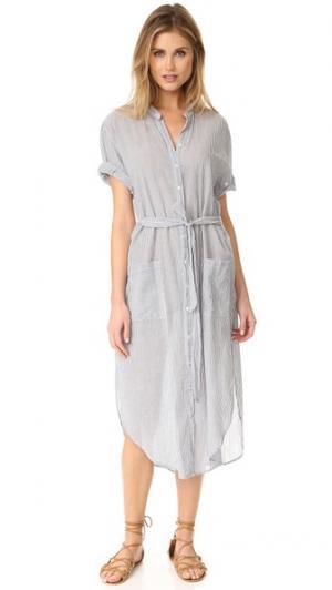 Платье на пуговицах Alexa в тонкую полоску XIRENA. Цвет: насыщенный синий