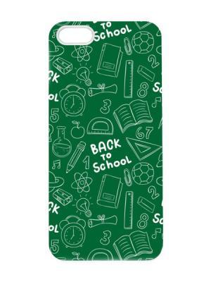 Чехол для iPhone 5/5s Back to school Арт. IP5-016 Chocopony. Цвет: зеленый, белый