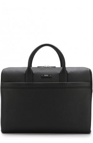 Кожаная сумка для ноутбука с плечевым ремнем BOSS. Цвет: черный