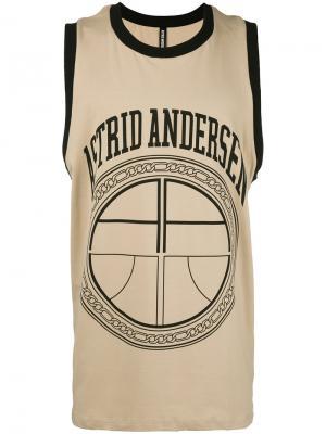 Футболка без рукавов с принтом-логотипом Astrid Andersen. Цвет: телесный