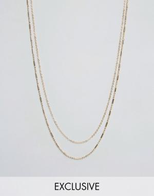 DesignB London Золотистое ожерелье с двумя цепочками эксклюзивно для ASOS. Цвет: золотой