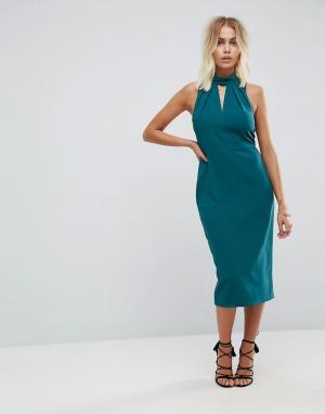 Closet London Платье-футляр с высоким воротом и вырезом-капелькой. Цвет: синий
