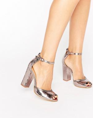 Raid Босоножки на блочном каблуке с ремешком вокруг щиколотки. Цвет: серый