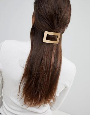 ASOS Прямоугольная металлическая заколка для волос DESIGN. Цвет: золотой