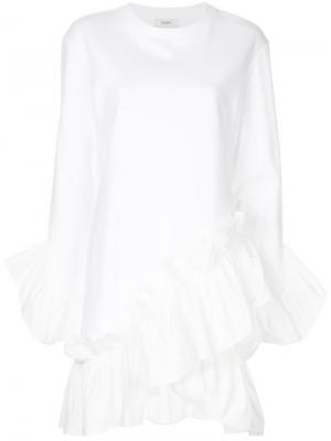 Асимметричное трикотажное мини-платье Goen.J. Цвет: белый