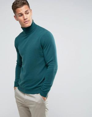 United Colors of Benetton Зеленый джемпер-водолазка из 100% мериносовой шерсти. Цвет: зеленый