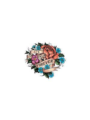 Временная переводная татуировка Цветы МнеТату. Цвет: голубой, сиреневый, фиолетовый, красный, желтый, черный, синий, зеленый, морская волна
