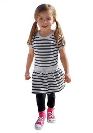 Набор: Платье + Леггинсы CFL. Цвет: цвет морской волны + серый