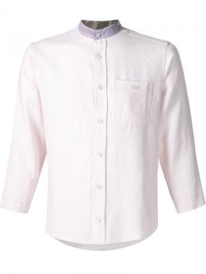 Рубашка с контрастным воротником-стойкой Longjourney. Цвет: розовый и фиолетовый