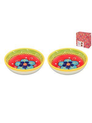 Набор 2 салатников Цветочное настроение Elan Gallery. Цвет: желтый, белый, синий, салатовый, красный