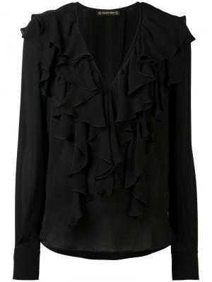 Блузка с рюшами и глубоким V-образным вырезом Plein Sud. Цвет: чёрный