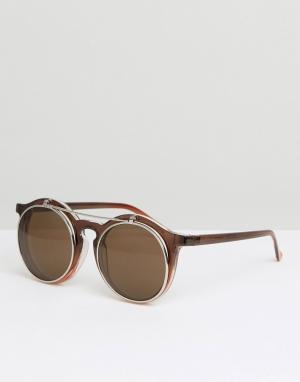 Jeepers Peepers Круглые солнцезащитные очки с поднимающимися стеклами. Цвет: коричневый