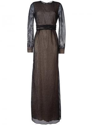 Вечернее платье в сетку Emanuel Ungaro. Цвет: чёрный